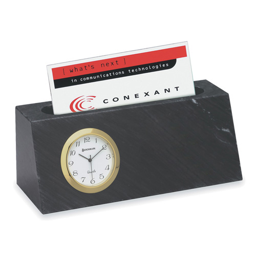 Marble business card holder and clock for Marble business card holder
